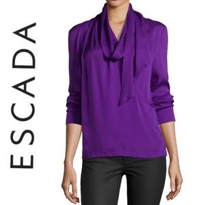 🛍BOGO Escada, Iris 100% Silk Blouse with Scarf